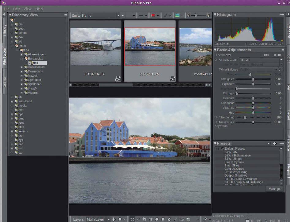 Bibble foto bewerken met Linux