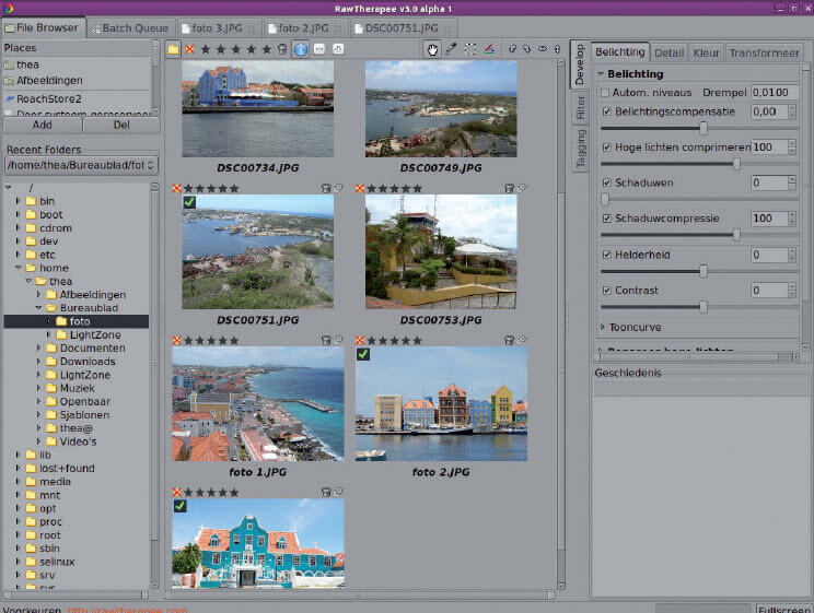 RawTherapee fotobewerken met Linux