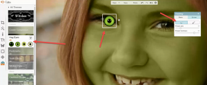 3Meisje veranderen in heks groen ogen plaatsen