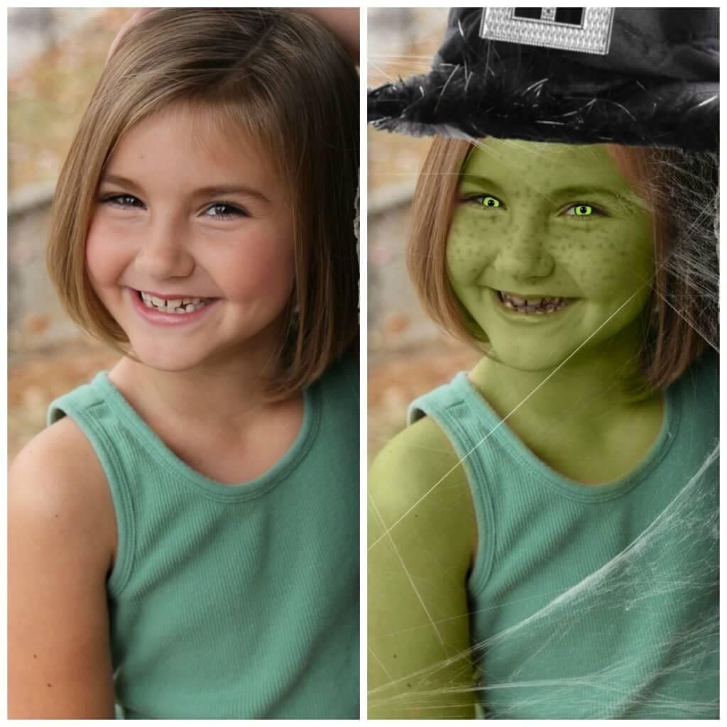 Foto effecten meisje veranderen in Heks