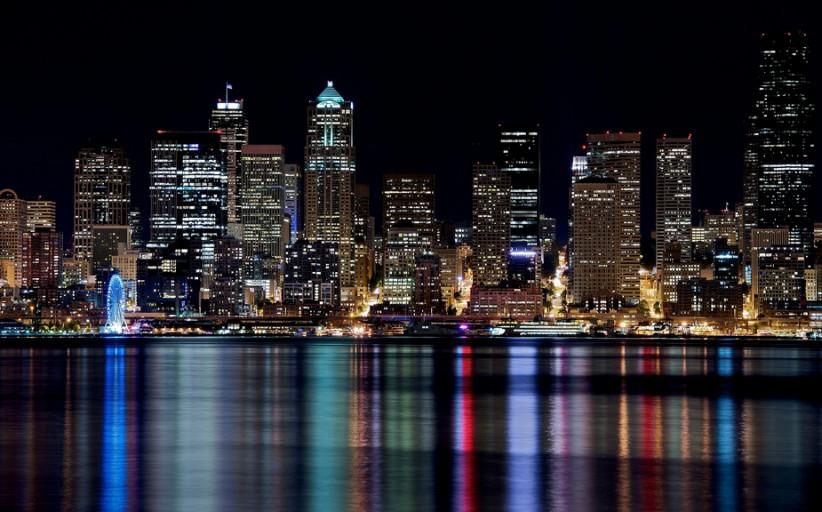 Skyline 's avonds fotograferen